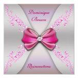Elegant Pink Silver Diamond Bow Quinceanera Card