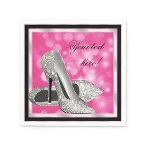 Elegant Pink Silver Glitter High Heel Napkin