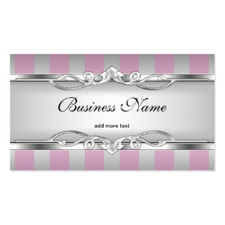 Elegant Pink Silver Grey White Stripe Business Card Template