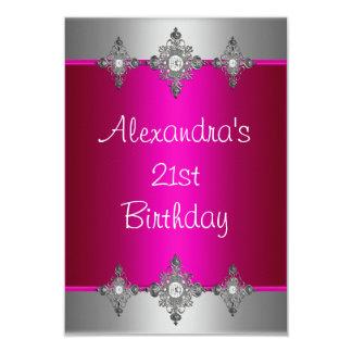 Elegant Pink Silver Jewel 21st Birthday Personalized Invite