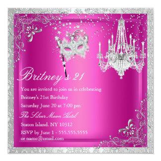 Elegant Pink & Silver Masquerade 21st Invite