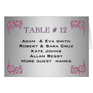 Elegant PINK SILVER Table number template wedding Card