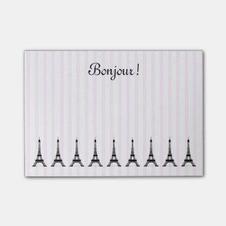 Elegant Pink Stripe Eiffel Tower French Theme Post-it® Notes