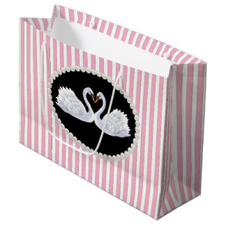 Elegant Pink Stripes, Pearls & Swans LG Bag