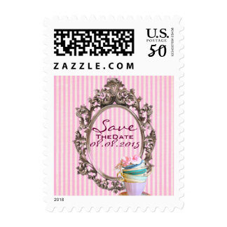 elegant pink stripes vintage save the date postage