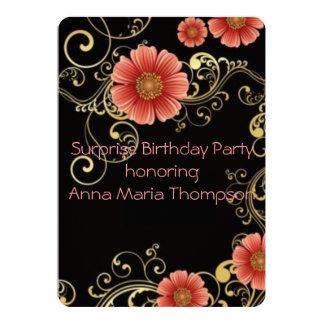 "Elegant Pink Surprise Birthday Invite 5"" X 7"" Invitation Card"