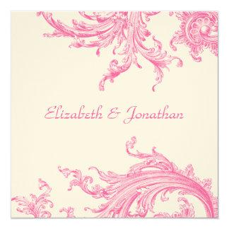 Elegant Pink Sweep Wedding Invitation