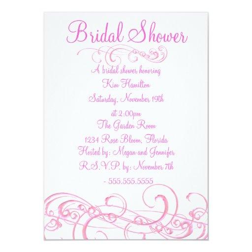 Elegant Pink Swirl Bridal Shower Invite