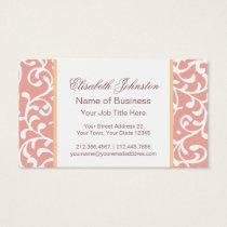 Elegant Pink Swirls Damask Feminine Floral Business Card
