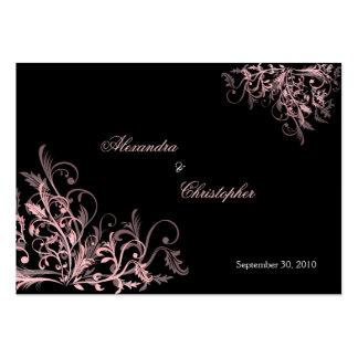 Elegant Pink Swirls RSVP Wedding Announcement Mini Business Cards