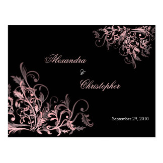 Elegant Pink Swirls Save the Date Announcement Postcard