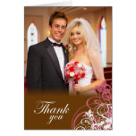 Elegant pink swirls wedding thank you photo card