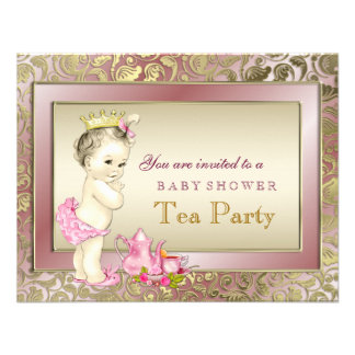 Elegant Pink Tea Party Baby Shower Personalized Invites
