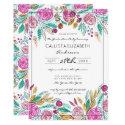 Elegant Pink Teal Floral Watercolor Graduation Invitation