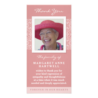 Elegant Pink Thank You Memorial Photo Card