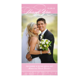 Elegant Pink Thank You Photo Card (4x8)