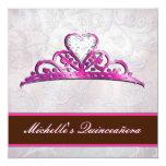 "Elegant Pink Tiara Invitation with Diamond 5.25"" Square Invitation Card"
