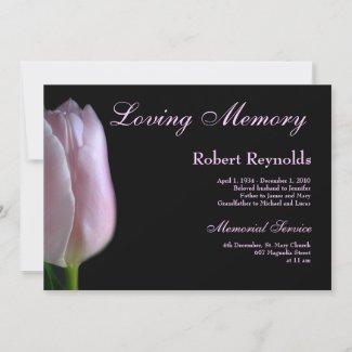 Elegant Pink Tulip Funeral or Memorial Announcement