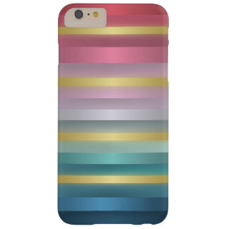 Elegant Pink Turquoise Gold Stripes Barely There iPhone 6 Plus Case