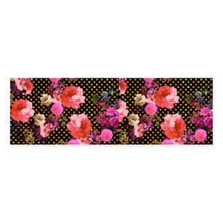 Elegant Pink Vintage Flowers Black Gold Polka Dots Double-Sided Mini Business Cards (Pack Of 20)