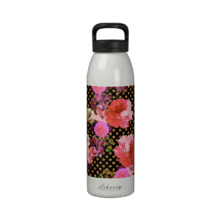 Elegant Pink Vintage Flowers Black Gold Polka Dots Water Bottle