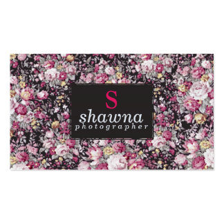 Elegant Pink Vintage Flowers on Matte Black Double-Sided Standard Business Cards (Pack Of 100)