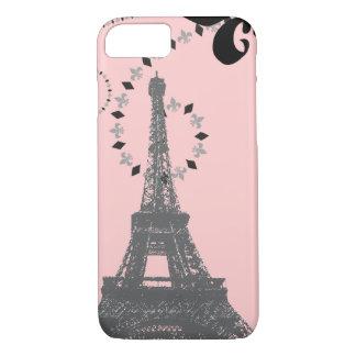 elegant pink vintage paris eiffel tower iPhone 7 c iPhone 8/7 Case