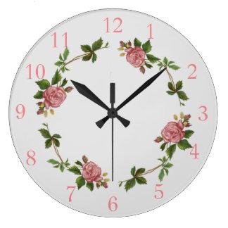 Elegant Pink Vintage Rose Large Clock