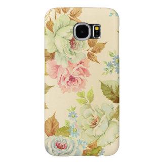 Elegant Pink Vintage Roses On Cream Color Samsung Galaxy S6 Cases
