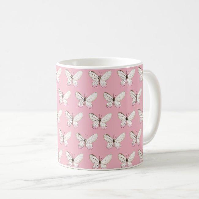 Elegant Pink Watercolor Butterflies Pattern Mug