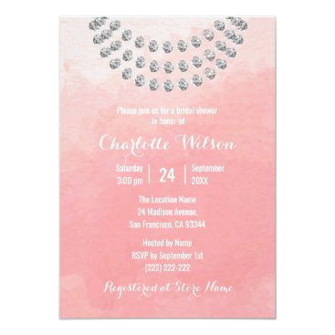 Beach Themed Elegant Pink Watercolor Faux Diamond Bridal Shower Card