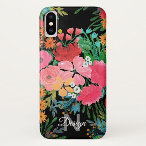 Elegant Pink watercolor Floral Bouquet Design Phone Case