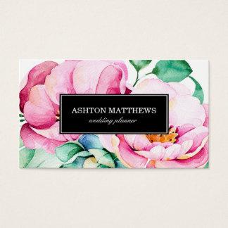 Elegant Pink Watercolor Flowers Business Card