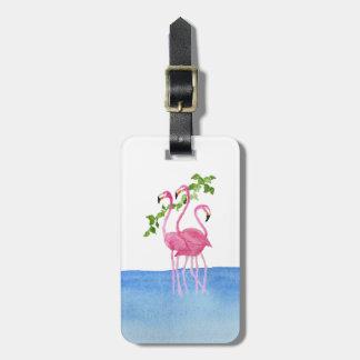 Elegant pink watercolor hand painted flamingo bag tag