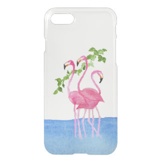 Elegant pink watercolor hand painted flamingo iPhone 7 case