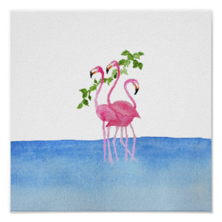Elegant pink watercolor hand painted flamingo poster
