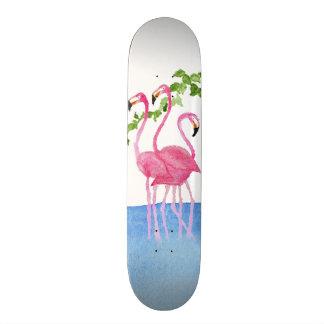Elegant pink watercolor hand painted flamingo skateboard