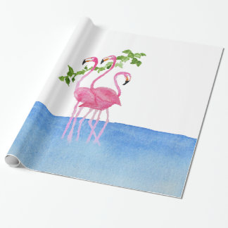 Elegant pink watercolor hand painted flamingo wrapping paper