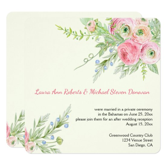 Elegant Pink Watercolor Paper Roses Weddings Invitation