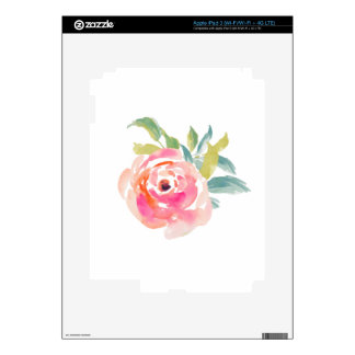 Elegant pink watercolor roses floral iPad 3 decals