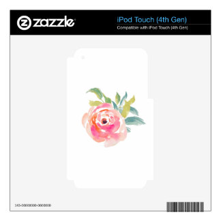 Elegant pink watercolor roses floral iPod touch 4G skin