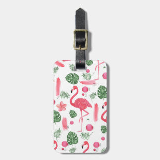 Elegant pink watercolor tropical flamingo floral bag tag