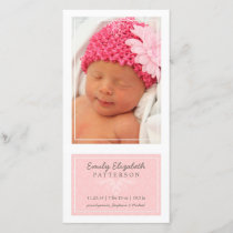 Elegant Pink & White Baby Girl Birth Announcement