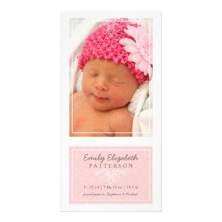 Elegant Pink & White Baby Girl Birth Announcement