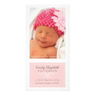 Elegant Pink & White Baby Girl Birth Announcement Photo Card Template