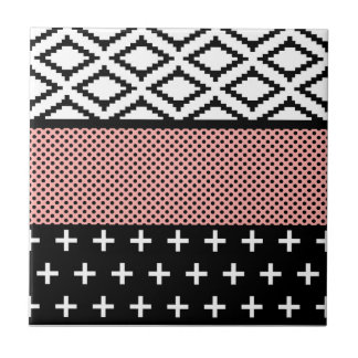 Elegant Pink, White, & Black Modern Geometric Ceramic Tile