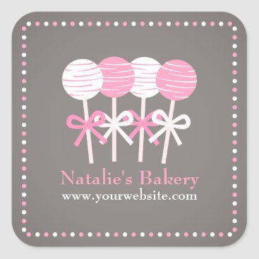 Professional Business Elegant Pink White Cake Pops Bakery Stickers