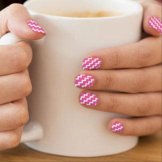 elegant pink white chevrons girly fashion nails minx nail wraps