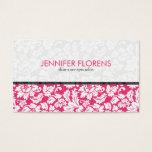 Elegant Pink White Floral Damasks Business Card