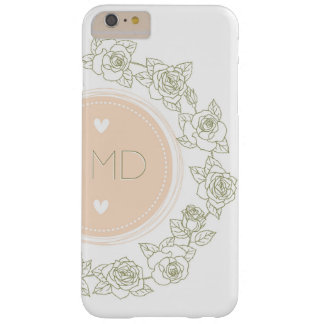 Elegant Pink White Floral Monogram Barely There iPhone 6 Plus Case